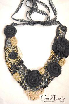 Necklacechainjewelryaccessoriesfabric necklacelace by GyaDesign