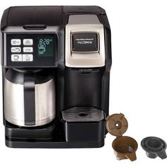 Make a cup of morning joe with this black Hamilton Beach FlexBrew two-way coffee maker. The 10-cup stainless steel carafe keeps your brew hot and ready to serve, while the programmable timer lets you wake up to fresh java. This Hamilton Beach FlexBrew two-way coffee maker features an auto pause-and-serve function so you can pour a cup while brewing. Dual Coffee Maker, Thermal Coffee Maker, Coffee Maker Reviews, Espresso Maker, Kitchenaid Stand Mixer, Hamilton Beach, Canada, Perfect Cup, Best Coffee