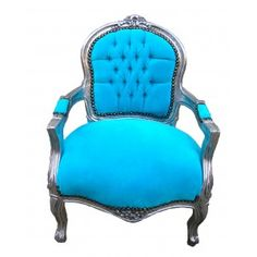 Baroque armchair for child turquoise velvet and silver wood