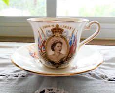 Elizabeth II Coronation Tea Cup and Saucer - Taylor & Kent by SavannahGuzVintage on Etsy https://www.etsy.com/listing/197658691/elizabeth-ii-coronation-tea-cup-and