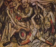 Tableaux sur toile, reproduction de Beckmann, Night, 133x154cm