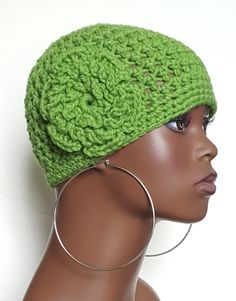 19d85989a5a Green Crochet Beanie Skull Cap with Flower by Razonda Lee Crochet Skull