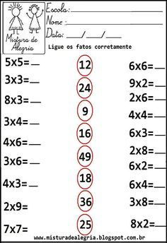 Atividades de matemática 3º ano                                                                                                                                                                                 Mais Math Practice Worksheets, Math Coloring Worksheets, Printable Math Worksheets, Kindergarten Math Worksheets, Math Activities, Math Exercises, Math Sheets, Free Math, 2nd Grade Math