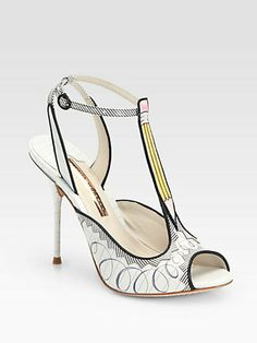 Sophia Webster - Dixie Doodle Pencil-Print Leather T-Strap Sandals - if I was  a teacher, I would buy these!