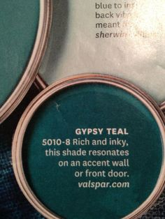 gypsy teal paint by valspar Teal Front Doors, Front Door Colors, Exterior Door Colors, Colored Front Doors, Painted Front Doors, Exterior Paint, Graphisches Design, Home Design, Color Pallets