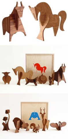 Moderne wooden animal sculptures from Uusi Wood Crafts, Diy Crafts, Wood Animal, Wooden Figurines, Designer Toys, Animal Sculptures, Wood Toys, Wood Carving, Kids Toys