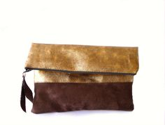 Fold over clutch purse Gold leather and dark chocolate by byMART, $36.00