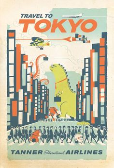 Old travel posters. Evoke thoughts of far away. The dinosaur welcomed the upgrade to first class. The bed was bigger and he welcomed the sleep, while he navigated the streets of Tokyo the next day.