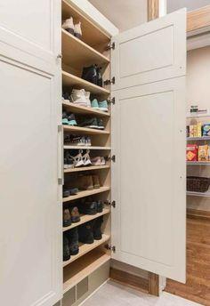Storage Shoe cabinet with adjustable shelving in mudroom of West Des Moines remodeler Silent Rivers Room Closet, Master Closet, Shoe Room, Hall Closet, Closet Space, Closet Shoe Storage, Closet Organization, Shoe Racks, Shoe Storage Room Ideas