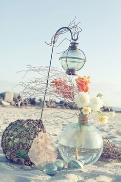 rope and glass  for the isle (beach wedding) love this! Not planning to have the ceremony or reception on the beach, but I love it!