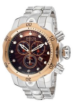 Invicta 10796 Men's Venom/Reserve Chronograph Brown Textured Dial Stai – Real Watches