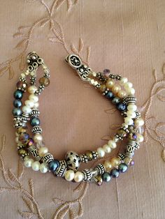 Freshwater pearl silver and stone bracelet by urbangypsydreams~<3