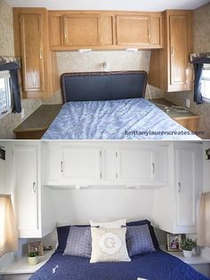 Camper bedroom before and after renovation