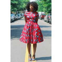 Red Bulb African Midi Dress | African Print Dresses | African Clothing Styles