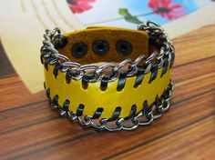 Yellow Real Leather Cuff  Women Leather Bangle Bracelet, Men Leather Cuff Bracelet  FSL0019-Y via Etsy