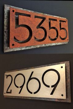 Custom steel and natural slate house numbers by Rancidmetals, $80.00