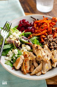 Chicken Wild Rice Bowl - tender seasoned chicken thighs with a delicious nutty wild rice blend, roasted carrot strands, salad with beets and feta. Gluten Free, Slimming World and Weight Watchers friendly Chicken And Wild Rice, Chicken And Vegetables, Slimming World Vegetarian Recipes, Slimming Recipes, High Protein Recipes, Healthy Recipes, Healthy Food, Feta, Low Calorie Lunches