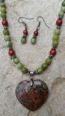 Agate serpentine heart pendant necklace & earring set
