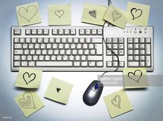 A computer keyboard covered in sticky memo notes notes with hearts. Keyboard Cover, Computer Keyboard, Notes, Social Media, Photography, High Resolution Picture, Report Cards, Photograph, Computer Keypad