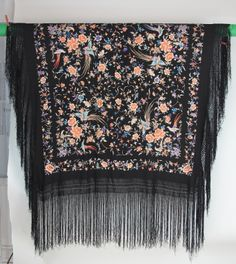 1920s Hand embroidered Canton silk shawl | From a collection of rare vintage scarves at http://www.1stdibs.com/fashion/accessories/scarves/