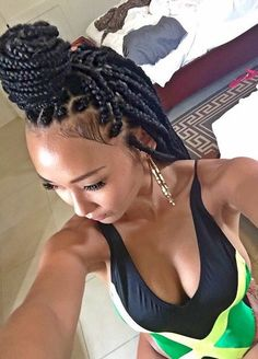 Box Braids Extensions Plaits Square African American Hair Hairstyle Hairstyles Jamaican Flag One Piece Bikini Baddie Pretty Girl Swag Dope On Fleek Fleeky Graciii3