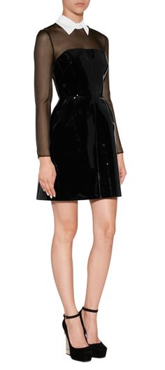 A liquid-effect patent body lends an exquisitely seductive twist to this sheer top shirtdress from Valentino #Stylebop