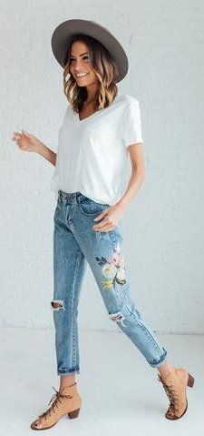 8ec11573666  summer  outfits Grey Hat + White Tee + Floral Jeans + Camel Booties Floral