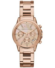A X Armani Exchange Women's Chronograph Rose Gold-Tone Stainless Steel Bracelet Watch 36mm AX4326