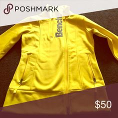 Bench jacket Yellow bench jacket with full zipper and quarter zipper; 2 pockets; size medium; maybe worn once or twice Bench Jackets & Coats