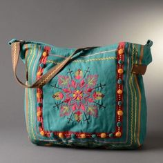 Turquoise with Embroidery Bag by Scully Cantina Collection