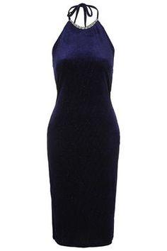 Glitter Halter Velvet Midi Dress Now $50.00