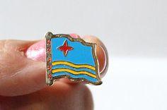 ARUBA BLUE AND YELLOW FLAG PIN ENAMEL Metal PIN Collectible Souvenir Keepsake