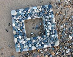 Beach Rock Picture Frame, Gray/Stone, Square // beach gift ideas // beach house gift // handmade photo frame // gifts for beach lovers Beach Rocks, Beach Stones, Handmade Picture Frames, Picture Stand, Beach Gifts, Graduation Gifts, House Warming, I Shop, Xmas Sweaters