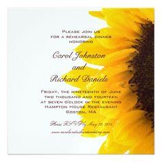 Photo Wedding Rehearsal Dinner Yellow Sunflower Rehearsal Dinner Invitation