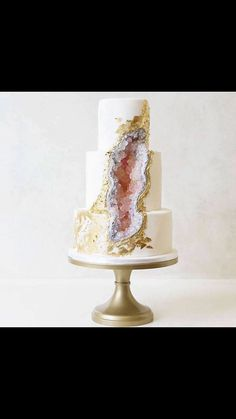 Spring wedding geo cake.