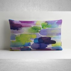 Watercolour Print Pillow Cover Lumbar Pillow Cover by SamanthaEmma