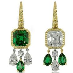 repost from @lordiamond Say Yes Exclusive! This one is so different and so special! Handmade 18KY/PLT Earrings, -4.57ct Emerald Cut Emerald -2.19ct/tw Pear Shape Emeralds -5.02ct Asscher H-IF -2.05ct/tw H-IF PearShapes -0.24ct F-G VS1-VS2 Rounds Diamonds -0.82ct Fancy Yellow VS2-SI Rounds Pave. -Emeralds are NO OIL, Zambian.