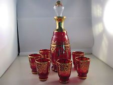 Vintage Venetian Glass Decanter w/6 Glasses Red with Gold Overlay 1920s Italy