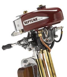 Modern outboard motors lack much of the stylistic finesse of their predecessors, this immaculately restored Neptune motor was crafted without an ounce of Old Boats, Small Boats, Best Fishing Boats, Outboard Boat Motors, Classic Wooden Boats, Boat Engine, Trolling Motor, Vintage Boats, Vintage Tractors