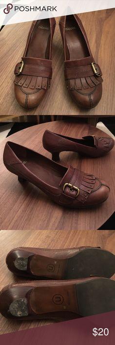 NICOLE brown leather loafer heels NICOLE brown leather fringe loafer style heels, the heel is very slight, size 8, lightly worn. Nicole Shoes Heels