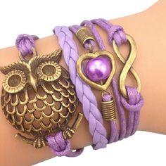 Purple Owl and Charm Arm Party Bracelet