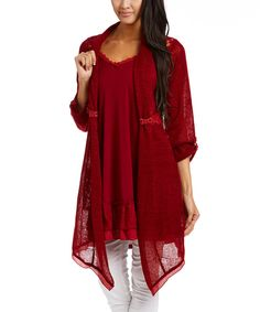Look at this Burgundy Lace Open Linen-Blend Cardigan & Camisole on #zulily today!
