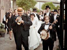 From marching bands to a classic Sinatra-esque crooner, surprising musical performances are all the rage. Can't swing a live performance? Walk down the aisle to a rock ballad or your favorite movie score for a twist on tradition. Top Wedding Trends, Wedding Details, Wedding Ideas, Walking Down The Aisle, Wedding Planning Tips, Big Day, Dream Wedding, Wedding Shit, Wedding Bands