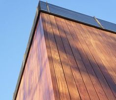 Cumaru hardwood rainscreen siding is a beautiful and sustainable cladding with lots of exotic grain and color variations. Check out Cumaru siding photos. Rainscreen Cladding, Cladding Design, Cedar Cladding, Exterior Cladding, Composite Cladding, Vertical Siding, Siding Options, Ipe Wood, Siding Materials