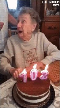 gifsboom: Video: 102-Year-Old Woman Loses Her Dentures While Blowing Out Birthday Candles #compartirvideos #happy-birthday