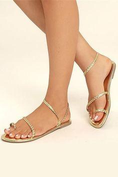 c9e6f0f60e 10 best gold flat sandals images | Beautiful shoes, Flat sandals ...