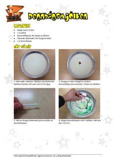 Skapa en färgexplosion i mjölk med hjälp av diskmedel och karamellfärg. Detta experiment handlar om vatten, blandningar samt polära och opolära ämnen.