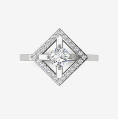 Bague Solitaire en or blanc 18 carats et diamants de synthèse - Collection THE ORIGIN