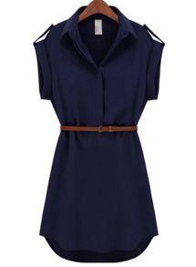 Vestito in chiffon con risvolto-azzurro