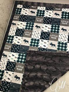 Mountain Minky Baby Blanket /Lumberjack Blanket/ Faux Quilt